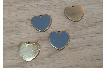 Corazón Acero Inoxidable 12*10mm Gris y Dorado
