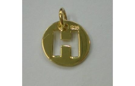 Letra H 10MM con anilla PLATA GOLDFILLED