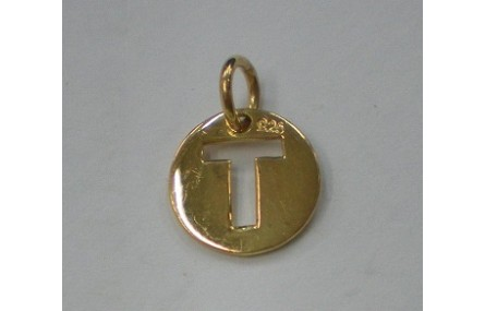 Letra T 10MM con anilla PLATA GOLDFILLED