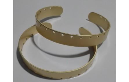 Pulsera 10mm ancho Oro Mate agujeros