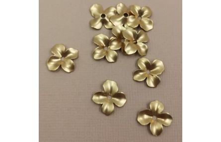 Flor 4 pétalos 14mm diámetro Oro Mate