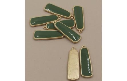 Colgante lámina esmaltada 33*11mm Verde