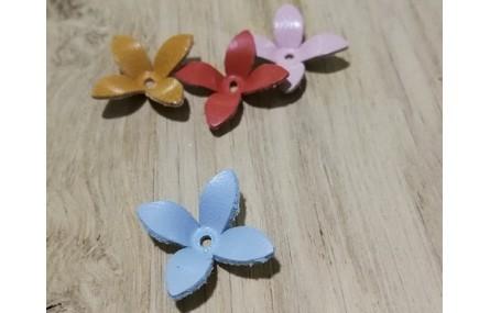 Flor Cuero 30mm Azul