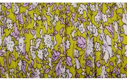 Lazo 4mm liberty amarillo fllores blancas-lilas