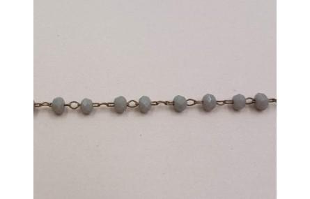 cadena engarzada cristales 2*3mm Gris